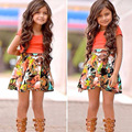 New short sleeved shirt fashion casual two piece skirt girl casacos infantis menina summer suits girls