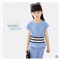 Girls Good quality dress new summer 2015 big girl suits short sleeves Han edition waist striped