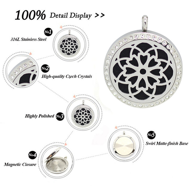 316L Stainless Steel Silver new design(30mm) Aromatherapy magnetic Perfume Diffuser Locket