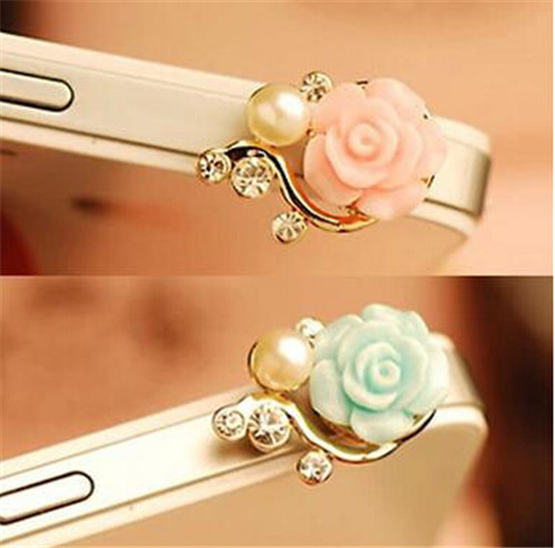 HOT SALE Romantic Pearl Roses Dustproof Plug Mobile Phone Dust Plug Sweet Girls Phone Pendants(China (Mainland))