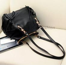 New Autumn Winter Fashion Tassels Black Women s Shoulder bag PU Leather Woman Bags 2015 Bag