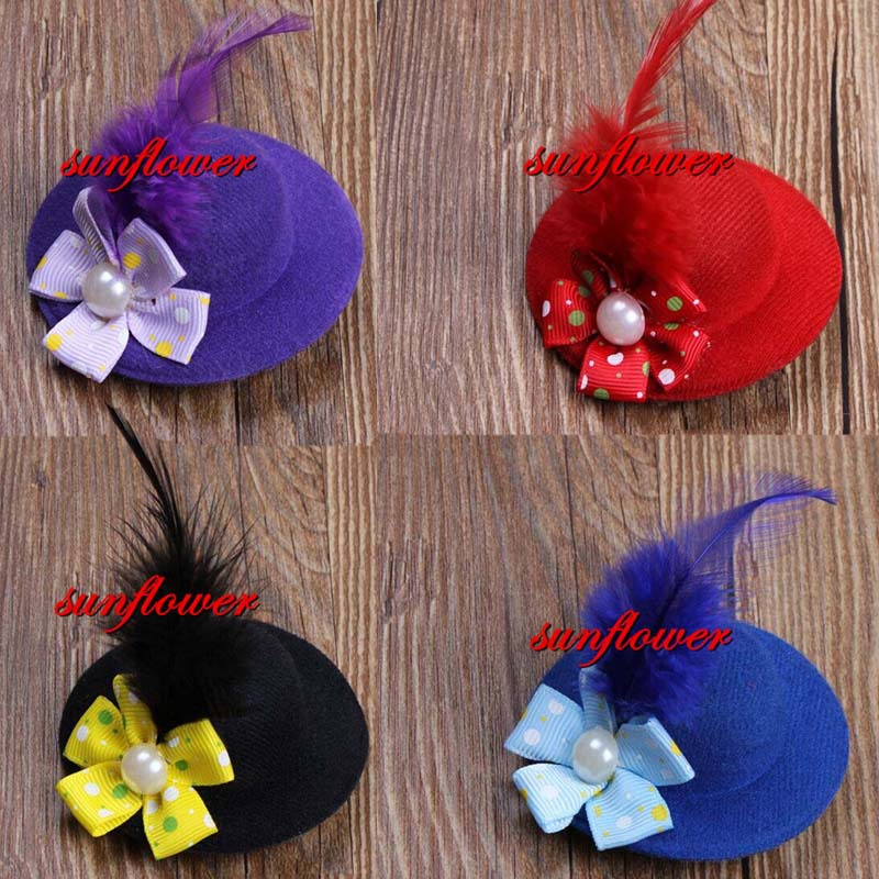 Cute Flower Hair Clip Feather Mini Top Hat Fascinator Burlesque Fancy Party(China (Mainland))