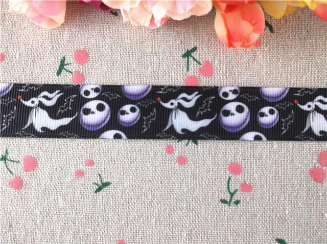 "New arrival 7/8"" (22mm) skull printed grosgrain ribbons halloween ribbon hair accessories 10 yards WQ14091411"