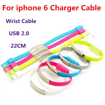Bracelet Wrist USB Cable For Iphone 6 Plus 5 5s 4 4s Ipad 5 Ipad USB 2.0 Data Cable 22cm Portable Charge Cable Power Adapter OEM(China (Mainland))