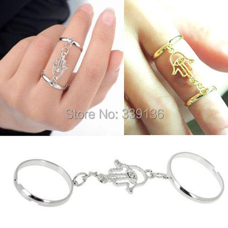 Fashion Gold / Silver Boho Retro Ethnic Hamsa Hand Fatima Charm Midi Knuckle Double Link Tassel Chain Finger Ring 2 Colors FR13 - BEYOND JEWELRY (No minimum order limit store)