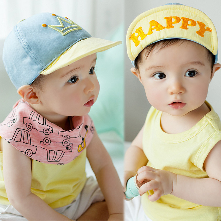 Happy Crown Baby Cap Soft Brim Newborn Baby Hats Cute Baseball Caps for Kids 46-50cm 6-18 Months(China (Mainland))
