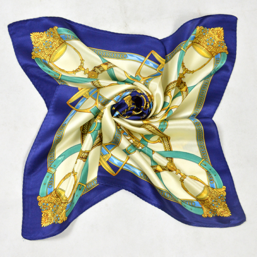 Hot Sale Women Small Silk Scarf Printed Fashion Chain Pattern Dark Blue Square 100% Silk Scarves Europe America Style Scarf(China (Mainland))