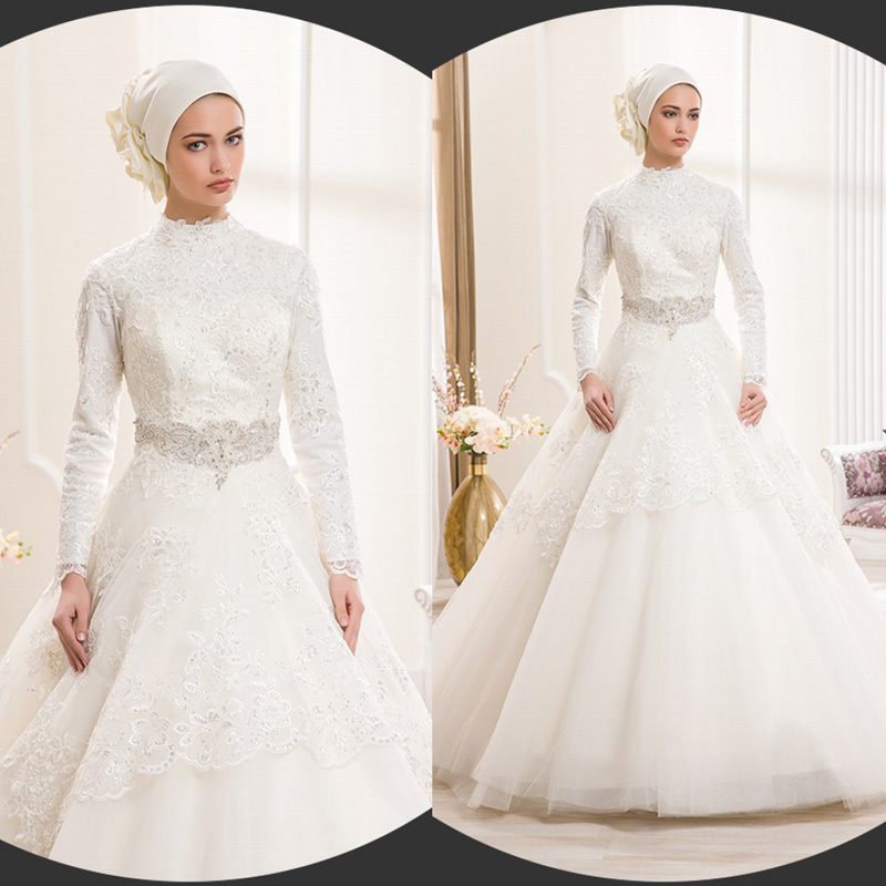 Ivory lace ball gown muslim wedding dresses 2015 long for Elegant long sleeve wedding dresses