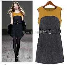 2014 new women's autumn and winter dress woolen dress hit the color stitching sleeveless woolen women dress vest dress Slim