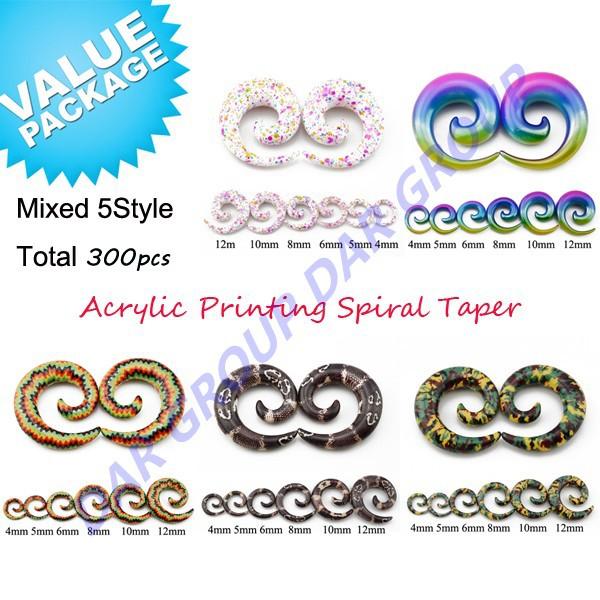 300pcs UV Acrylic Printing Spiral Taper Snail Plugs Swirl Ear Expander Stretching Gauge Kit Piercing Jewelry 4mm-14mm