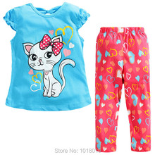 New 2016 100% Cotton Branded Baby Kids Toddler Children Girls Clothing Clothes Sets Baby Clothing Sets Girls Short Sleeve Summer(China (Mainland))