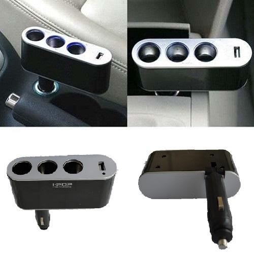3 ways Car Cigarette Lighter Socket Splitter Charger USB port,3 Way Adapter - Hard-working people store