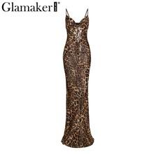 Glamaker הדפס מנומר תחרה עד נשים מקסי שמלת הקיץ סקסי חוף מסיבת שמלת נקבה slim ללא משענת ארוך שמלה קיצית רטרו vestidos(China)