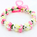 2016 New Cute Girls Rose Hair Accessories Bohemian Flower Headband Hair Wreath Princess Women Wedding Party
