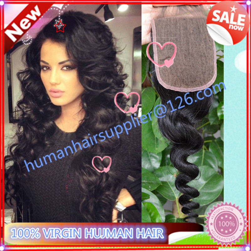 sexy formula hair brazilian silk base closure loose wave kbl hair virgin brazillian hair loose curl silk based closure 4x4 inch
