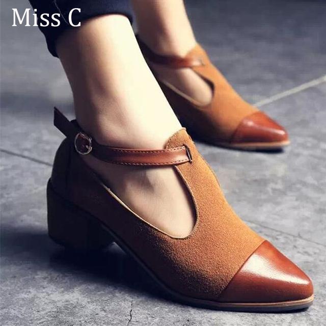 2016 старинных оксфорд обувь женщины острым носом вырез мед-пятки лоскутная пряжка ...