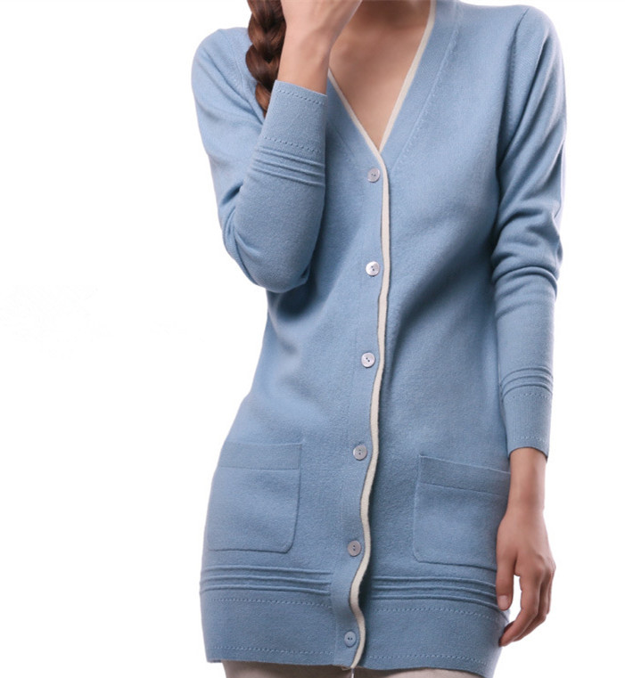 top quality 100% goat cashmere women mid-long cardigan sweater coat 5colors $285 free shipping