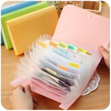 1pc Plastic candy color Document bag file folder Expanding wallet bill folder Small size 17.8*11.5*2.5cm(China (Mainland))