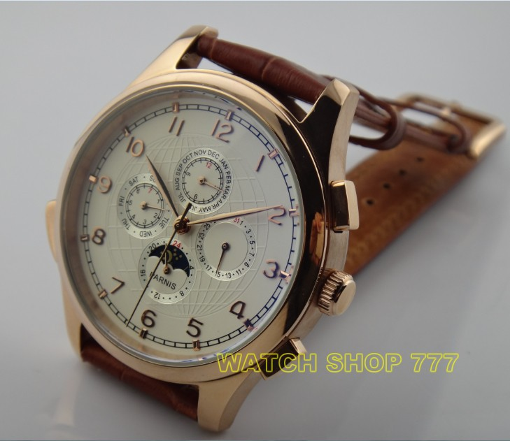 44mm PARNIS Asian Automatic mechanical movement Men's watch Luxury Fashion watches