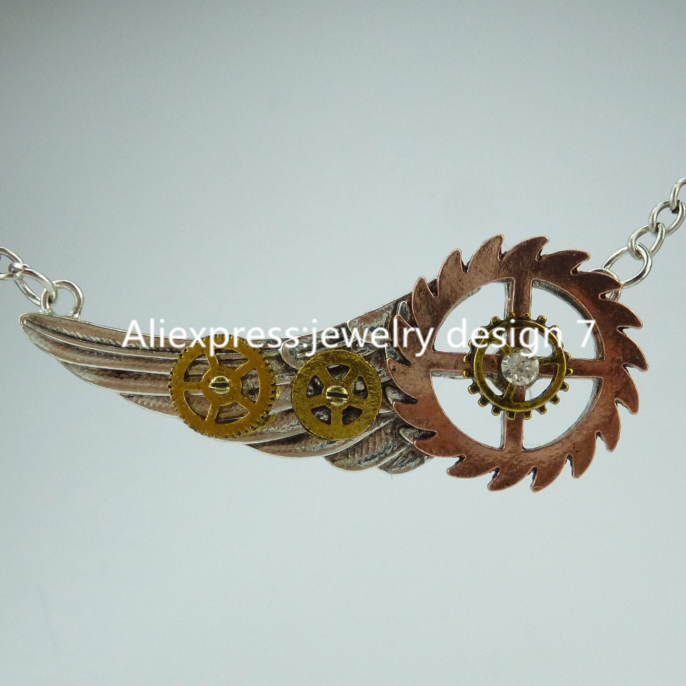 Free shipping Cool Wing Gear Steampunk Steam Punk Dangle Pendant Gear Necklace Fashion Jewelry(China (Mainland))