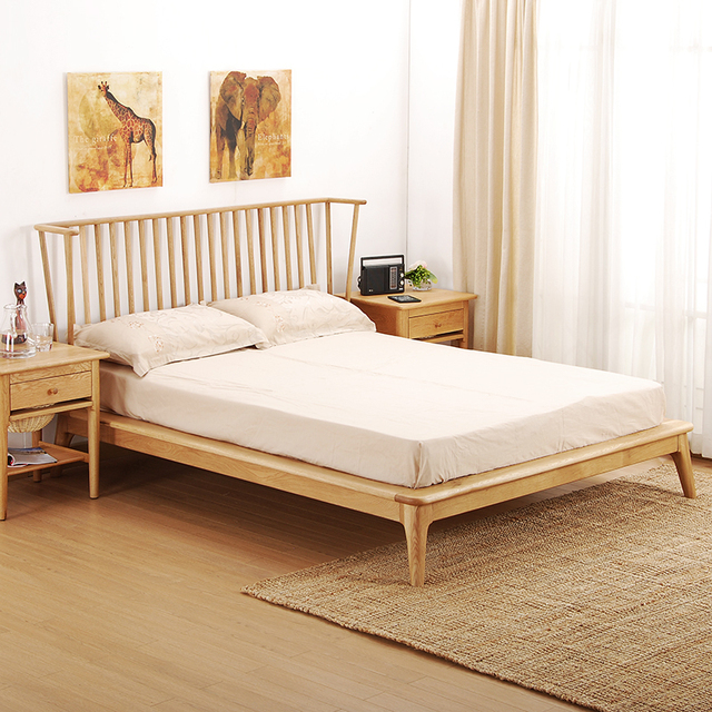 B921,White acorn wooden bed, double beds, european style ...