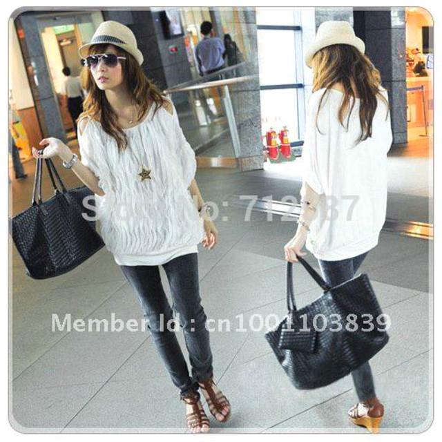 Fashion Women Off Shoulder Wave Batwing Tops Long T-shirt Cotton Blends 2 Colors # 5125