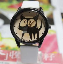 2015 nueva moda Casual lindo gatito de la historieta de la PU cuero relojes relojes de cuarzo relojes de pulsera horas para los niños embroma estudiantes blanco