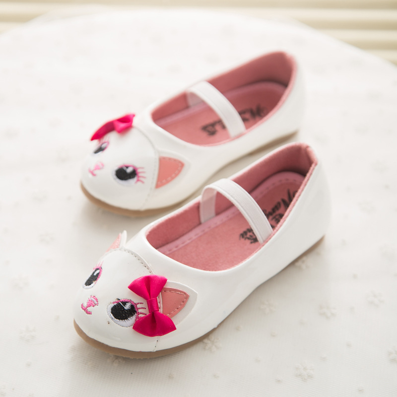 2017 New Spring Cute Cat Children's Footwear Princess Infant Girl Shoes With Bowknot PU Children Shoes Girls Toddler Flat Shoes