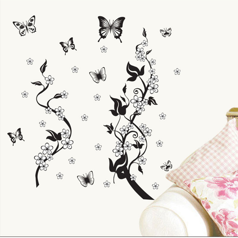 Classic Floral Black Vine Butterfly Flower DIY Wall Stickers Mural Art Wall Home Office Window Room Decor Vinyl Wall Decal(China (Mainland))