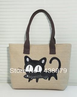 New Fashion Women Shoulder Bag Canvas Bag Cute Cat Bag(China (Mainland))
