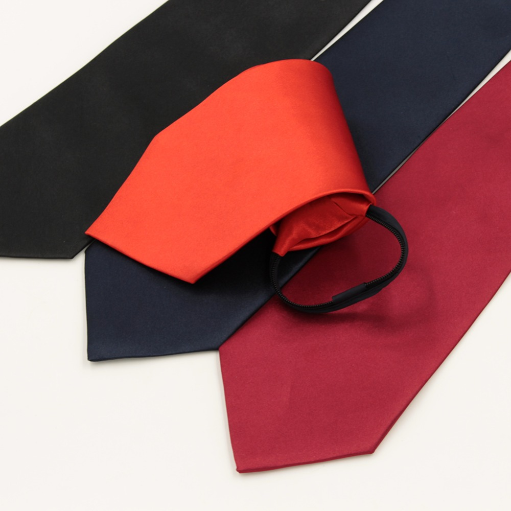 1 piece Pre-tied Business Zipper Ties For Men Wedding Slim Classic Polyester Fashion Necktie Solid Black Red Color 10cm Width(China (Mainland))