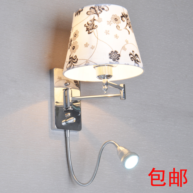 Bedside Wall Lights Switched : With switch led reading wall lamp modern brief fashion wall light fabric bedside lamp rocker arm ...