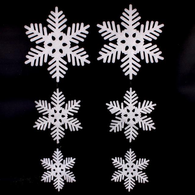 New Big Size Glitter Snowflake Christma Decorations Snow Flake Personalized Christmas Ornaments Felt Snowflakes white Christmas(China (Mainland))