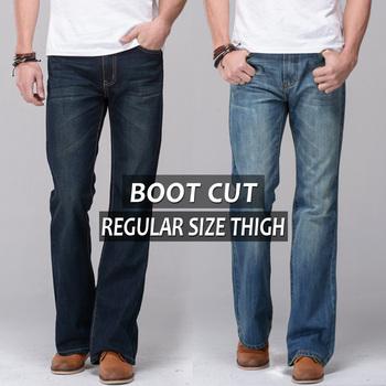 2014 мужские джинсы загрузки крой регулярные бедра fit расклешенные джинсы известный ...