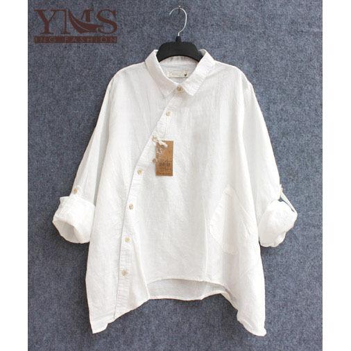 Womens Cotton Blouse Long-Sleeve Shirt 2015 Spring...