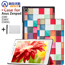 Magnet Leather Cover Stand Case for Asus Zenpad 8.0 Z380 Z380C Z380KL Tablet + Screen Protectors + Stylus(China (Mainland))