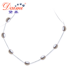 [Daimi] Natural Pearl Necklace,Silver Chain Jewelry, Choker for Women, Casual Style Evening Jewelry, Promotional Gift For Summer(China (Mainland))