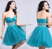 Sexy Strapless Plus Size prom dress Beaded Homecoming Party Design A Line Cocktail Gowns Teal Blue Short Prom Dresses 2016 UM039