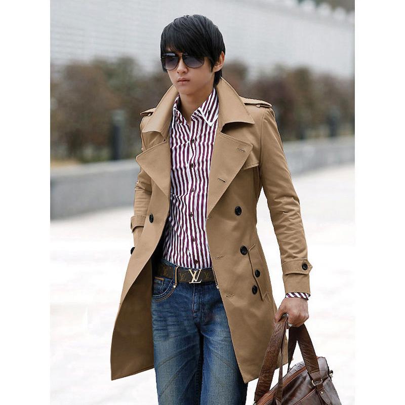 Бесплатная доставка новых людей стильные двубортный тренчкот мужчин пальто зиму куртка для мужчин Большой размер M ~ XXXL