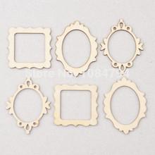 NEW Wooden Shape Vintage DIY Wooden Veneer Frame Mini Photo Frame Wooden Flourish Wood Angle DIY Scrapbook WF081A(China (Mainland))