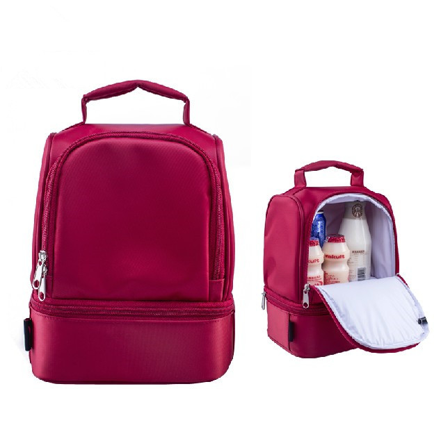 New design thick warm thermal insulated boxes nylon lunch bag red lunch bags tote with zipper cooler lunch box insulation bag