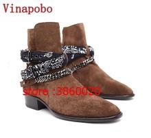 เชลซี boot man suede รองเท้าหนัง pointed toe buckle รองเท้าข้อเท้ารองเท้าโลหะ sliver โซ่พรรคผู้ชายรองเท้า Sapatos muje(China)