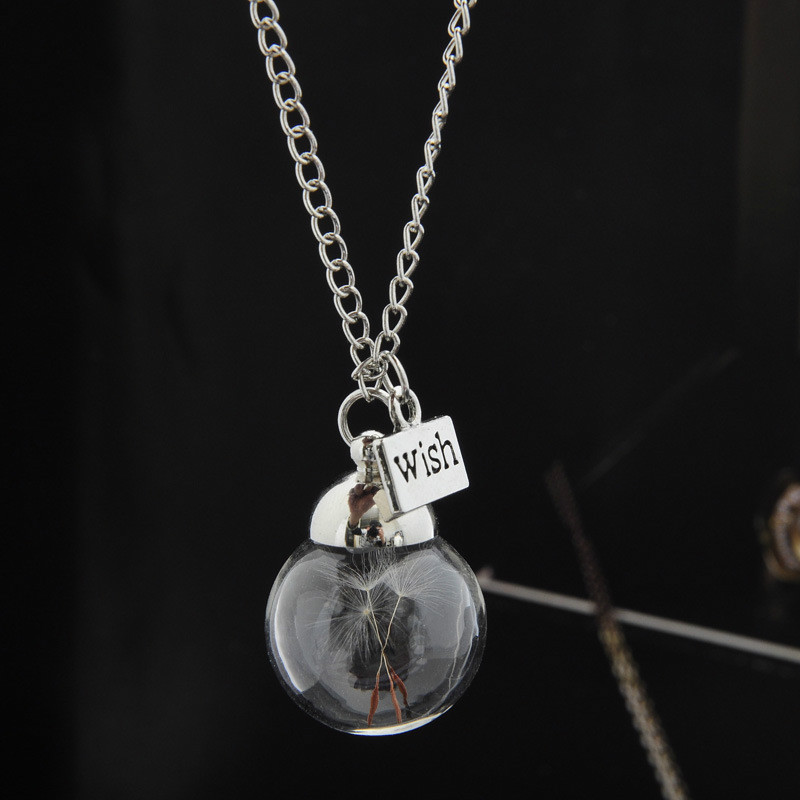 wish bottle necklace real dandelion seeds botanical round