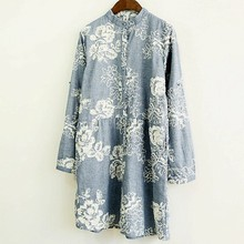 3D embroidery stand collar long sleeve vintage dress (China (Mainland))