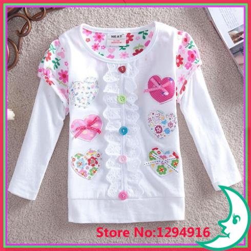 retail NEAT kids 2014 new t-shirts flower baby girls long sleeve lace cartoon t shirt children clothng wear Nova sister L3309# - Fashion Zoon No.1 store