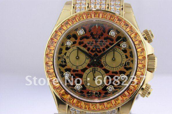 FREE SHIPPING  DAYTONA YELLOW GOLD LEOPARD DIAMONDS 116598 SACO<br><br>Aliexpress
