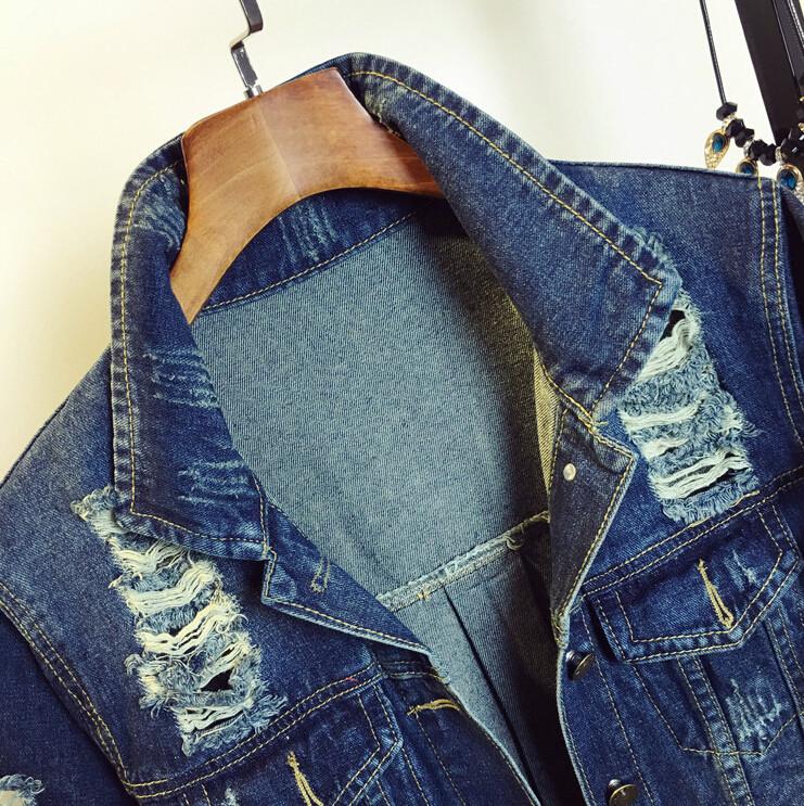 2016 new spring women fashion casual all-match Hole denim jacket women long sleeve jean coat outwear size S-L,G237