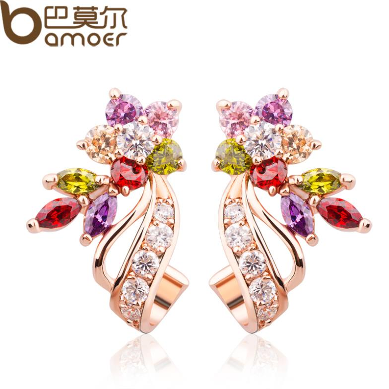 Bamoer 18K Real Gold Plated Gold Flower Stud Earrings with Multicolor AAA Zircon Stone Birthday Gift Jewelry JIE019(China (Mainland))