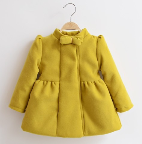 , autumn winter New children wear,bowknot design brand wool coat.thickening,2-6T,yellow pink bule - Children's shop store