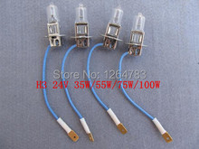 Headlights H3 24V 35W / 55W / 75W / 100W halogen bulb spotlights machine work lights 10pcs / lot free shipping!(China (Mainland))